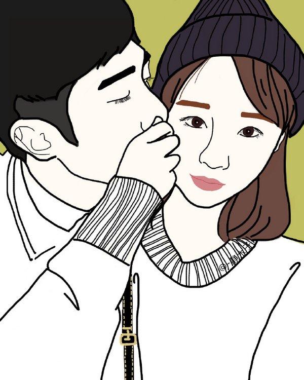 亲吻的卡通情侣图片一左一右_背景皮肤 - 泡泡花